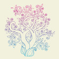 Flowering tree vector background with decorative Royalty Free Stock Images