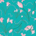 Soft flowers on teal background