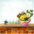 Flowerpot with roses Royalty Free Stock Photos