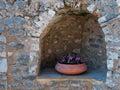 Flowerpot In A Stonewall Niche
