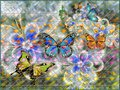 Flowers abstraction. Photo wallpaper for the walls. 3D rendering.