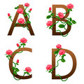 Flowers alphabet with red roses