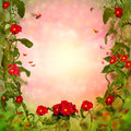 Flowers background beautiful fairy tale with primula Stock Photography