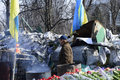 Flowers on the barricades of kiev in place death during a riot in february during political crisis in ukraine Stock Image