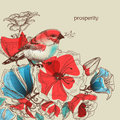 Flowers and bird illustration vector greeting card prosperity symbol Royalty Free Stock Photo