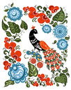Flowers and bird in russian traditional gorodetsky style illustration with the gorodets on isolated white background vector Stock Photos