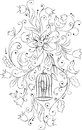 Flowers and birds cell vector black white artistic composition Stock Photography