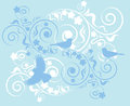 Flowers and birds elegant blue background with an ornament from abstract Stock Photography