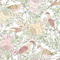 Flowers and birds. Floral background. Flower pattern. Royalty Free Stock Photo