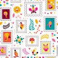 Flowers, birds, mushrooms & snails cute characters nature pattern Royalty Free Stock Photo