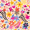 Flowers and birds pattern Royalty Free Stock Photography
