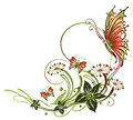 Flowers blossoms tendril colorful butterflies floral and abstract element Stock Photo