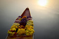 Flowers on boat at floating market Royalty Free Stock Photo