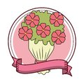 Flowers bouquet emblem
