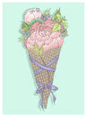 Flowers bouquet in ice cream cone with ribbon Royalty Free Stock Photo