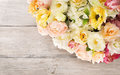 Flowers bouquet of peony, summer arrangement, wooden background Royalty Free Stock Photo