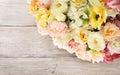 Flowers bouquet of peony, summer arrangement, wooden background