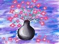Flowers brush paint sketch Stock Image