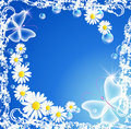 Flowers and bubbles in grunge frame Royalty Free Stock Photo