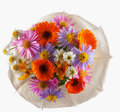 Flowers bunch seen from above isolated over white Stock Image