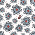 Flowers and butterflies blue red gray Royalty Free Stock Photo