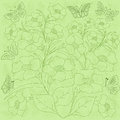 Flowers and butterflies green background light hand drawing vector illustration Stock Photos