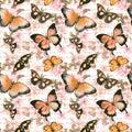 Flowers, butterflies, hand written text letter. Watercolor. Seamless pattern Royalty Free Stock Photo
