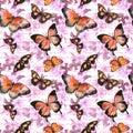 Flowers, butterflies, hand written text note. Watercolor. Seamless pattern