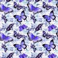 Flowers, butterflies, hand written text note. Watercolor. Seamless wallpaper