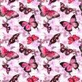 Flowers, butterflies, handwritten text letters. Watercolor. Seamless pattern