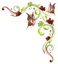 Flowers butterflies red and green border floral element Stock Images