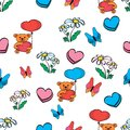 Flowers butterfly Bear with a heart pattern