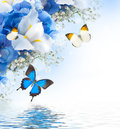 Flowers and butterfly, blue
