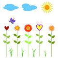 flowers, butterfly, clouds and sun Royalty Free Stock Photo