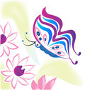 Flowers and butterfly logo