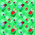 Flowers and butterfly seamless pattern with on background for nursery wallpaper vector illustration Royalty Free Stock Photography