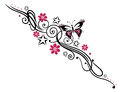 Flowers butterfly tendril black and pink tribal with Stock Photography