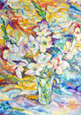 Flowers on canvas bouquet of painted in oil Royalty Free Stock Photo