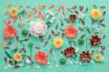 Flowers on canvas, flat lay Royalty Free Stock Photo