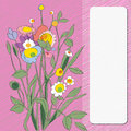 Flowers card multicolored hand drawn illustration of a floral bouquet over a scribbled background Stock Photography