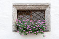 Flowers in a Castle Wall Window Royalty Free Stock Photo