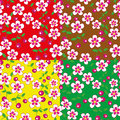 Flowers and cherries on a colored background seamless structure Royalty Free Stock Photography