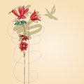 Flowers and colibri greeting card retro style Royalty Free Stock Image