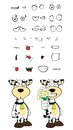 Flowers cow cartoon expressions set in vector format very easy to edit Stock Photos