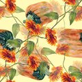 Watercolor sunflowers with pumpkin. Seamless pattern on a cream background.