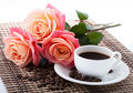 Flowers, cup of coffee Stock Photos