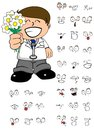Flowers doctor cartoon expresion set Royalty Free Stock Photo