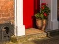 Flower Pot on Doorstep Royalty Free Stock Photo
