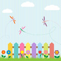 Flowers and dragonflies Royalty Free Stock Photo