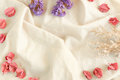 Flowers on fabric background of Copy space Royalty Free Stock Photo